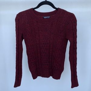 American Apparel Maroon Cable Knit Sweater